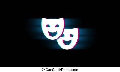 Drama, play, theater mask Symbol on Glitch Retro Vintage...