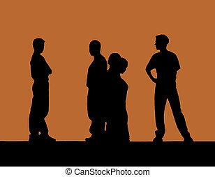Drama - Silhouettes of student performers on stage
