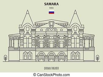 Drama Theater in Samara, Russia. Landmark icon in linear ...