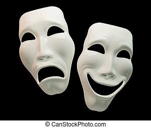 drama, und, comedy-theatre, symbole