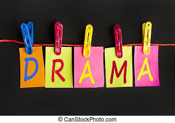 Drama word on laundry hook on black background