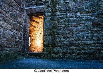 dramaric, castello, antico, luce