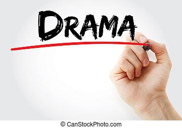 dramat, markier, wręczać pisanie