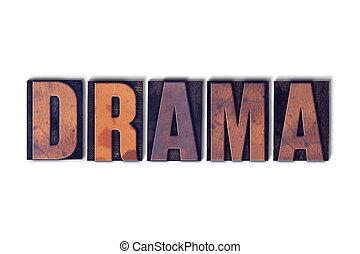 dramat, pojęcie, słowo, odizolowany, letterpress