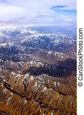 Dramatic aerial view of rocky mountains