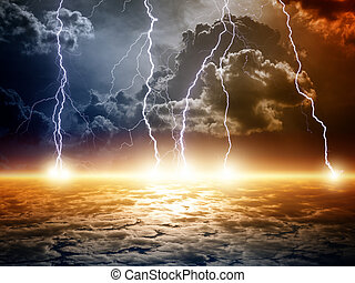 Dramatic apocalyptic background, end of world, bright...