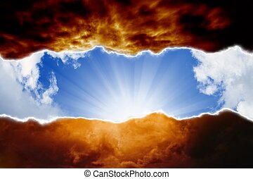 Dramatic background - sun beams in blue sky, dark red clouds...