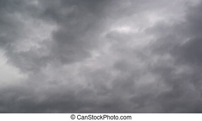 Dramatic bad weather Sky with dark stormy clouds, time lapse...
