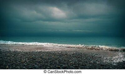 Dramatic Beach Shore - Ominous moody beach with cinematic...