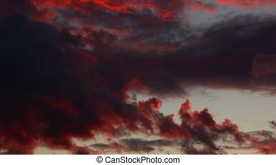 Dramatic black and red sunset.