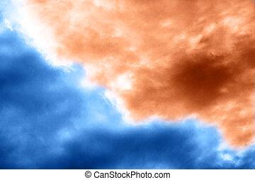 Dramatic blue and orange sky