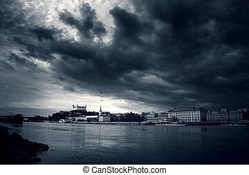 dramatic bratislava bw - Bratislava skyline with dramatic...