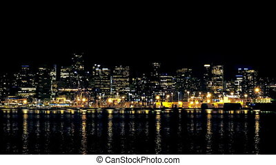 Dramatic City Waterfront At Night