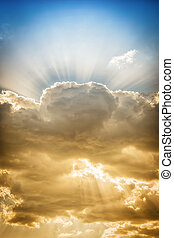 Picture of dramatic cloud with sunbeams in the sky