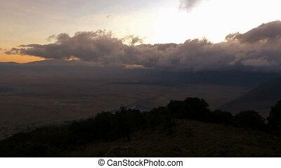 Dramatic clouds and sunrise in Ngorongoro - Timelapse of...
