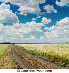 dramatic clouds over road in agriculture field