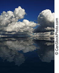 Dramatic Cloudscape with reflection - Dramatic cloudscape on...