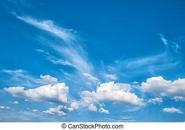 Dramatic cloudy blue sky. Beautiful nature background