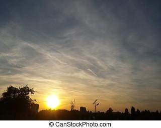 Dramatic Cloudy Sky Sunset Urban Scene