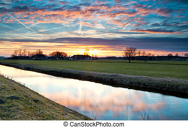 dramatic colorful sunset over farmland