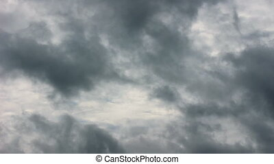 Dramatic dark sky with stormy clouds before rain.