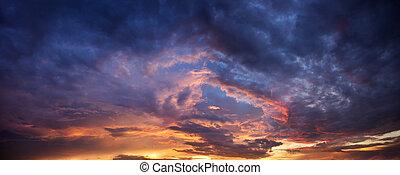 Dramatic panorama evening sky after sunset