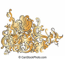 Dramatic fall of baroque style ornaments. Vector