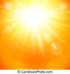 Dramatic golden sunburst in a fiery orange sky. - Dramatic...