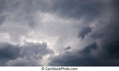 Dramatic gray clouds in the sky. Dark gray cloudy sky, panorama