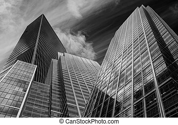 Buusiness concept financial district modern skyscrapers high contrast monochrome