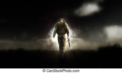 Dramatic image of a 3D soldier walking with his head down -...