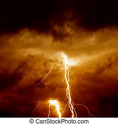 Nature force background - lightnings in stormy sky with dark red clouds