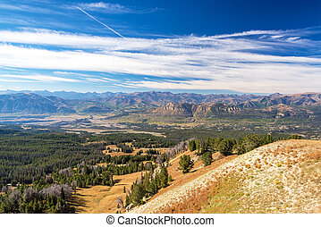 Beautiful mountain landscape as seen from Clay Butte near Yellowstone National Park in Wyoming