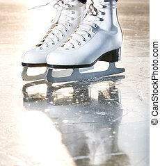 Dramatic natural portrait shot of ice skates