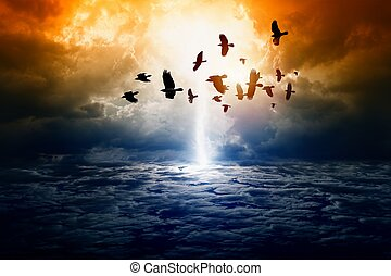 Dramatic apocalyptic background, mayan end of world, bright lightning, flock of flying ravens, crows in dark sky, armageddon.