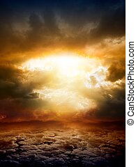 Dramatic apocalyptic background, mayan end of world, red sunset, armageddon, hell, big explosion