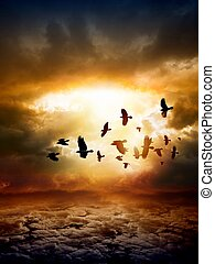 Dramatic apocalyptic background, mayan end of world, red sunset, armageddon, hell, big explosion, flock of flying ravens, crows in dark sky