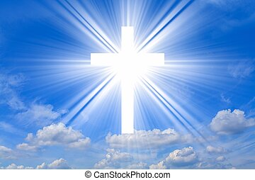 Dramatic nature background , Glowing cross in sky