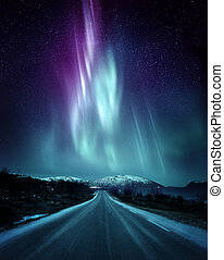 Dramatic Northern Lights Aurora In Norway