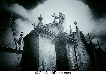 Dramatic old european cemetery angel