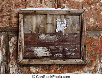Dramatic old poster board on grunge antique red wall