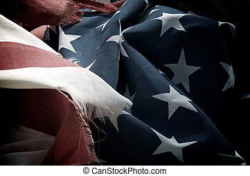 dramatic old USA flag