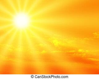 sunbeam - Dramatic orange sky and sunbeam.