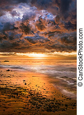 A dramatic sunrise after a winter storm in Santa Barbara, California.