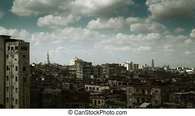 dramatic panning timelapse of the havana skyline, cuba
