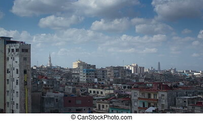 dramatic panning timelapse of the havana skyline and coast,...