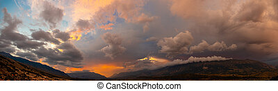 panorama sky with thunderclouds
