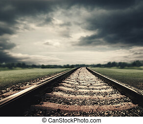 Dramatic railroad. Abstract transportation and tourism backgrounds