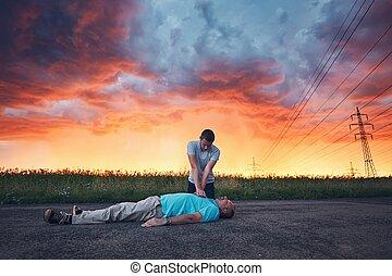 Dramatic resuscitation during storm