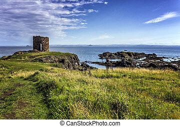 Dramatic rocky coastline in Elie Scotland